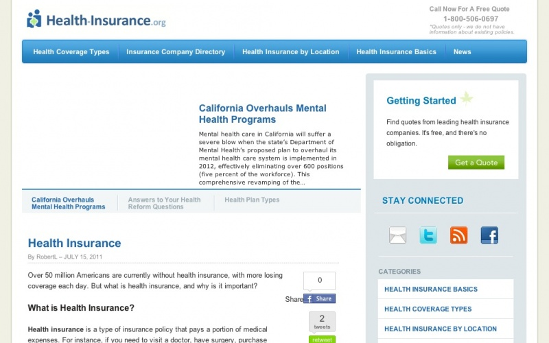 Health Insurance Dot Org Best Drupal Websites Showcase